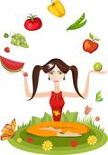 Girl yogi fruit